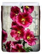 Beautiful Red Hollyhock Duvet Cover by Robert Bales