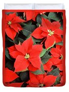 Beautiful Red Poinsettia Christmas Flowers Duvet Cover