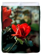 Beautiful Red Rose Bud Duvet Cover by Robert Bales