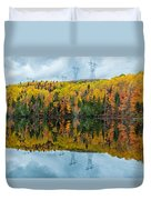 Beautiful Reflections Of A Autumn Forest In A Lake Duvet Cover
