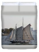 Beautiful Sailboat In Manhattan Harbor Duvet Cover