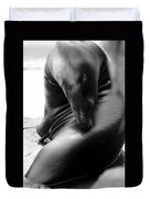 Beautiful Sea Lion - Black And White Duvet Cover