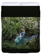 Beautiful Waterfall In The Mountains In Navarra Duvet Cover