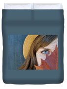 Young Woman And Leaf Duvet Cover