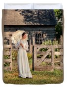 Beautiful Woman In White Dress With Parasol Duvet Cover