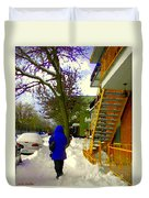 Beautiful Yellow Staircase Verdun Snow Scene Montreal Art Colors Of Quebec Carole Spandau Duvet Cover