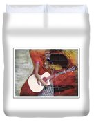 Beauty And Her Guitar Duvet Cover
