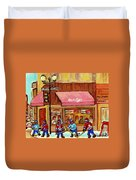Beauty's Restaurant Paintings Of Plateau Montreal Winter Scenes Hockey Art Carole Spandau  Duvet Cover