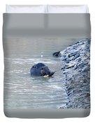 Beaver Chews On Stick Duvet Cover