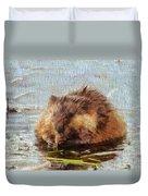 Beaver Portrait On Canvas Duvet Cover