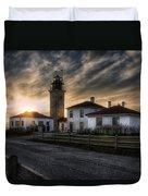 Beavertail Lighthouse Sunset Duvet Cover by Joan Carroll