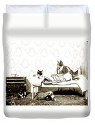 Bed Time For Kitty Cats Histrica Photo Circa 1900 Duvet Cover