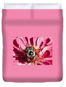 Bee Close Up On Pinkish Red Flower Duvet Cover