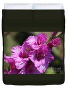 Bee In Pink Gladiolus Duvet Cover