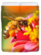 Bee Laden With Pollen Duvet Cover