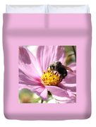 Bee On Pink Cosmos Duvet Cover