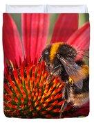Bee On Red Coneflower 2 Duvet Cover