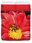 Bee On Red Dahlia Duvet Cover