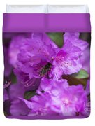 Bee On Rhododendrons Duvet Cover