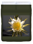 Bee Pollinating Dragon Fruit Blossom Duvet Cover