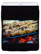 Beef Kababs On The Grill Closeup Duvet Cover
