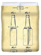Beer Bottle Patent Drawing From 1934 - Vintage Duvet Cover by Aged Pixel