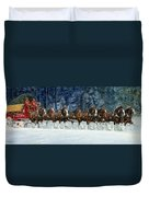 Clydesdales 8 Hitch On A Snowy Day Duvet Cover
