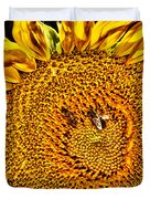 Bees On Sunflower Hdr Duvet Cover
