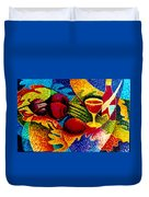 Beet Salad Pointillism Duvet Cover