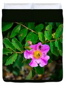 Beetle And Fly On Wild Rose Duvet Cover