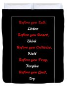 Before You  Duvet Cover by Barbara Griffin