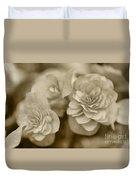 Begonias In Sepia Duvet Cover