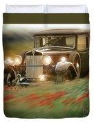 Behind The Wheel Duvet Cover by Edmund Nagele