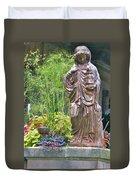 Beiger Mansion Statue Duvet Cover