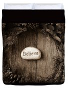 Believe In Text In The Center Of A Christmas Wreath Duvet Cover