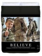 Believe Inspirational Quote Duvet Cover