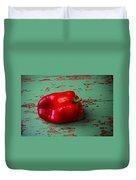 Bell Pepper On Green Board Duvet Cover