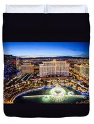Bellagio Rountains From Eiffel Tower At Dusk Duvet Cover