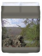Below Badin Dam Duvet Cover