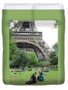 Below The Eiffel Tower Duvet Cover