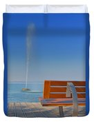 Bench And Fountain  Duvet Cover