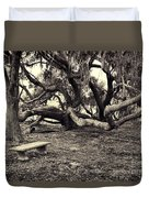 Bench And Trees Bw Duvet Cover