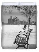 Bench At Belle Isle With Detroit I Duvet Cover