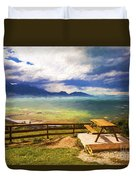 Bench At Kaikora With Approaching Storm Duvet Cover