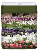 Bench Between The Tulips At Dallas Arboretum  Duvet Cover