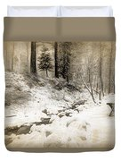 Bench By Creek Duvet Cover
