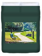 Bench In A Park With A Walkway Duvet Cover