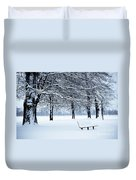 Bench In Snow Duvet Cover
