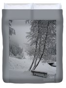 Bench In The Snow Duvet Cover