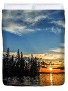 Beautiful Sunset At Waskesiu Lake Duvet Cover